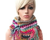 Crochet Fringe Gypsy Hippie Cowl Multicolor