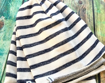 Navy and White Striped Stretch Knit Slouch Beanie Adult Fit 12yrs+