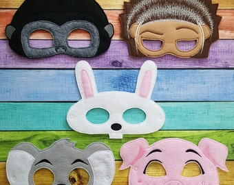 Singing Felt Masks * Birthday Parties, Party Favors, Playtime, Halloween Costume, Pretend Play, Pig, Gorilla, Bunny, Koala, Porcupine