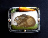 Rabbit bunny scrimshaw technique reproduction pin