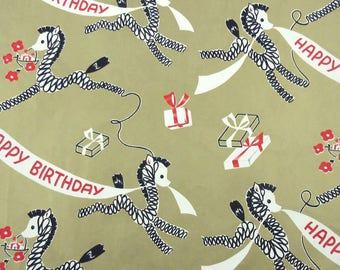 Vintage 1950s or 1960s Gold Birthday Wrapping Paper or Gift Wrap with Cute Giraffes Horses or Zebras Banners and Gifts