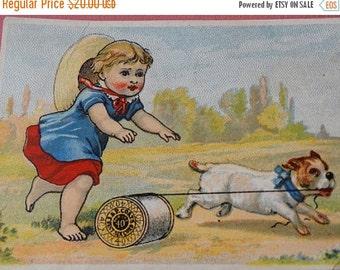 On Sale Victorian Trade Card, Parade, J. P. Coats Threads, Spool of thread, Pug Dog, Girl, Folkart, Primitive, Tobacco Card, Scrapbooking, C