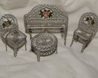 Vintage Victorian Doll Furniture Park Bench Chairs Table Aluminum hand painted floral Victorian Style Wicker Metal Set, Miniatures