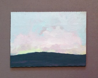ACEO 1636, 0il painting original landscape, ACEO, miniature art, 100% charity donation, oil painting on cardboard