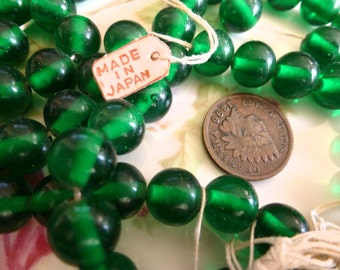 12 Vintage Transparent 10mm Emerald Smooth Round Glass Japan Beads C45