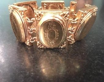 Vintage Locket Bracelet, Hattie Carnegie Signed, Five Goldtone Photo Oval Locket Links, Large Ornate Frames