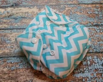 Newborn AI2 Cloth Diaper Natural Cotton Aqua Chevron Made to Order