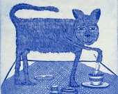 etching, My Cup of tea, cat, mouse, tea break, blue, humor, cup, table, kitchen, home interior, cat art, printmaking, kitty, table setting