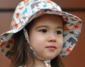 Kids Sun Hat with Chin Strap, Drawstring Adjust Head Size, Breathable 50+ UPF (Woodland)