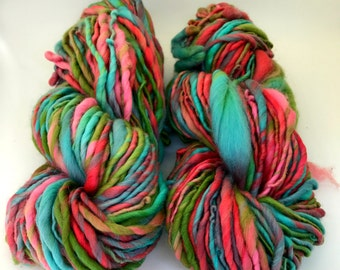 Rainbow handspun yarn two skein art yarn bulky yarn soft