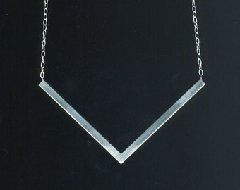 Chevron V-shape sterling square tube minimal geometric necklace