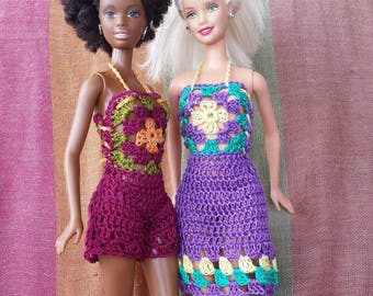 Barbie doll crochet pattern colorful granny square dress and romper