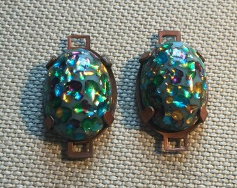 Vintage Glass Cabochon Connectors (4) Handmade Japanese Cabs Beads
