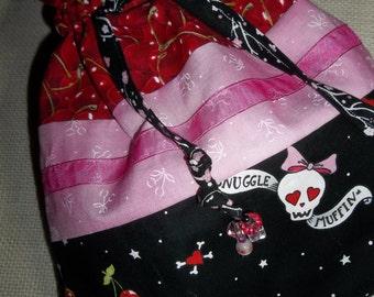 HANDMADE CINCH PURSE, Skulls and Cherries, Wristlet or Hand Held, (pink, red, black, white)