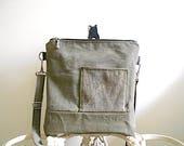 Recyced military canvas crossbody, iPad flat bag - eco vintage fabrics
