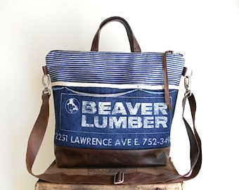 Vtg lumber apron & leather tote bag, crossbody, satchel - indigo stripe denim, Beaver Lumber Youngstown Ohio - eco vintage fabrics