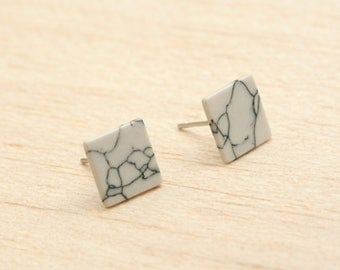 Imitation Marble Square Earring Post Finding  (EX201D)