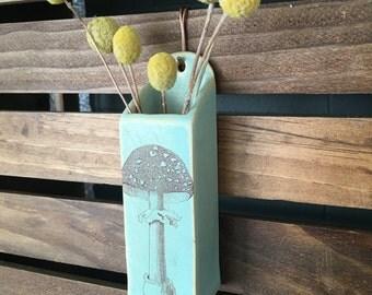 Green Stoneware Mushroom Hanging Wall Vase