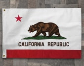 Cotton Stitched California Republic USA State Flag, Linen Bear Pennant