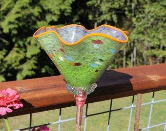 Lime Green Hand Blown Glass Flower Garden Art Sculpture Outdoor Decoration Garden Finial