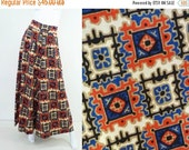 Vintage Palazzo Pants  TRIBAL COLONIAL CHIC Mega Bells Aztec WIde Leg Pant So 70s 1970s Style