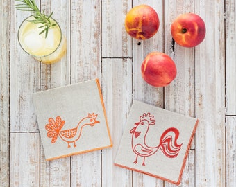 Chicken and Rooster Cocktail Napkins by Dot and Army