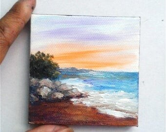 "Mini Oil Painting Sunset Beach 3""x 3"" READY to SHIP"
