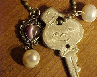 On Sale~~NECKLACE w/VINTAGE KEY~American Tourister Key w/Bell Hop Face~Fresh Water Pearls & Heart Charm~Found, Re-cycled Items~Stylish~OoAK