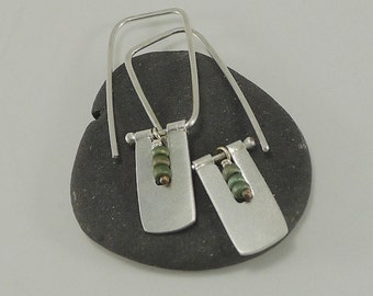 Sterling Silver and Glass Mini Rectangle Earrings - E2441