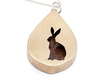 Large Bunny Silhouette Teardrop Shadowbox Pendant Necklace in Brass with Sterling Silver Chain - Other Animals Also Available