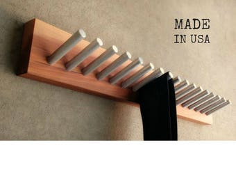 Tie Rack, Belt Rack, Metal and Wood, Modern and Rustic