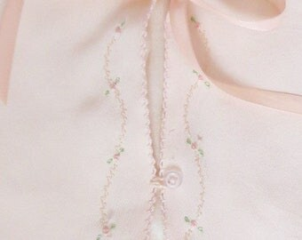 Adorable Antique Baby Sacque, bed jacket peach pink lined