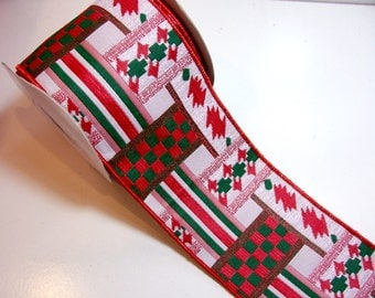 Christmas Ribbon, Offray Montgomery Wired Fabric Ribbon 4 inches wide x 10 yards, Full Bolt of Red and Green Ribbon