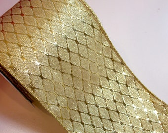 Gold Ribbon, Offray Gold Dorado Wired Fabric Ribbon 4 inches wide x 10 yards, Full Bolt