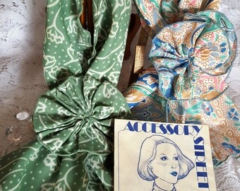 2 Vintage Scarves with matching clips