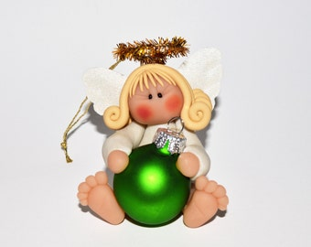 Blonde Angel with Green Ball Polymer Clay Christmas Ornament