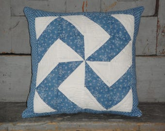 Vintage Blue Calico Quilt Pillow | Old Blue Quilt Pillow | Antique Quilt Pillow | Cutter Quilt Pillow | 9 x 9  Pillow