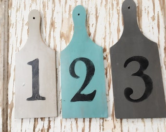 Number Signs, Set of 3, Primitive Decor, Farmhouse Decor, Cottage Decor, Coastal, Blue, Turquoise, Gray, Aqua, Handpainted, Repurposed