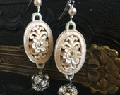 Perfection White Vintage Filigree Earrings Rhinestones Pearls Victorian Repurposed