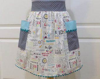 Womens Retro Half Apron Vintage Chic Cute Kitchen Waist Aprons with Pockets