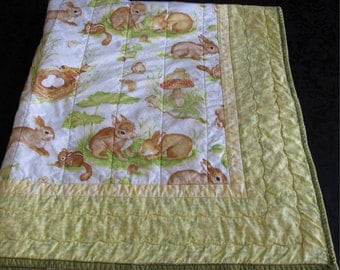 Rabbit Bunny Lap Baby Quilt Wallhanging Throw Yellow Green