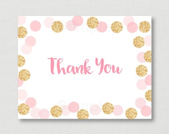Blush Pink & Gold Thank You Card / Glitter Bridal Shower / Bridal Thank You / Glitter Dots / Folded Card / PRINTABLE Instant Download B107