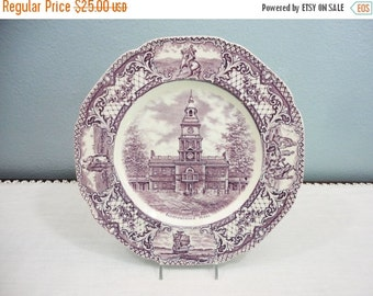 Holiday Sale Royal Ducal Purple Transferware Independence Hall Dinner Plate