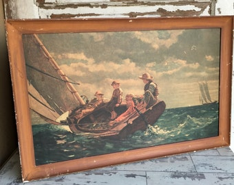 "Vintage ""Breezing Up"" Winslow Homer Print - Old Distressed and Charming"