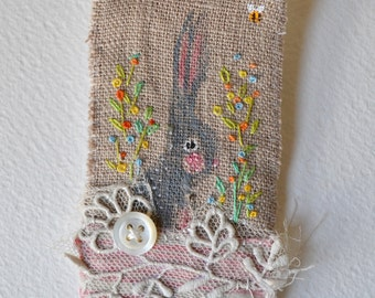 BROOCH - Bunny hand painted and embroidered