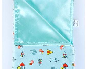 BABY BLANKET / Kodiak on Aqua background minky print with soft silky satin /Great  baby shower  gift/ Gender neutral