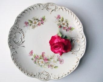 Vintage Serving Platter Pink Floral Round - Weddings Bridal