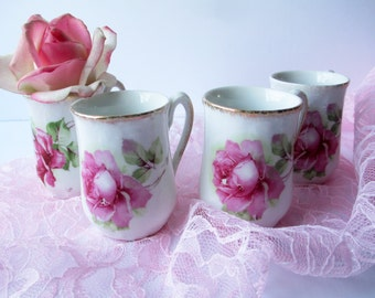 Vintage Chocolate Cups Pink Rose Shabby Sweet Set of Four