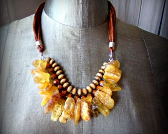 Chunky Amber Statement Bib Necklace with Suede Cord
