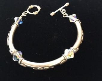 Aurora Borealis Swarovski Crystal Bracelet with Sterling Silver Tube Beads